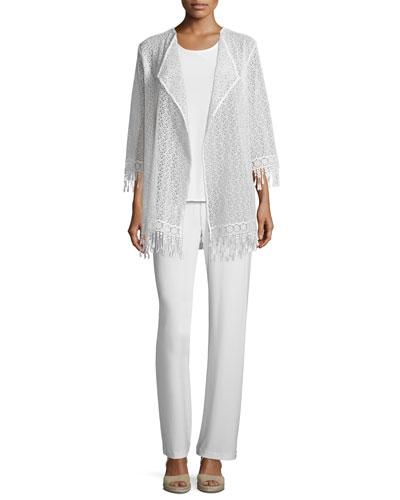 Long Lace Jacket W/ Fringe Trim  Sleeveless Long Tank & Stretch-Knit Straight-Leg Pants