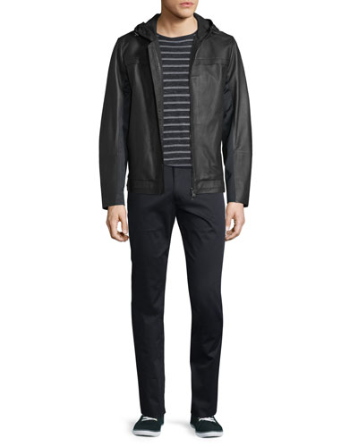 Mixed Media Hooded Leather Jacket, Jasper Sporty Striped Long-Sleeve Shirt & Flat-Front Stretch Sateen Pants