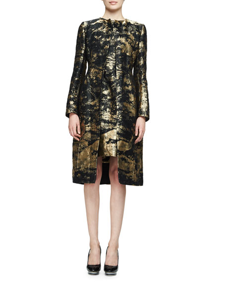 Oscar de la RentaLong-Sleeve Snap-Front Coat, Gold