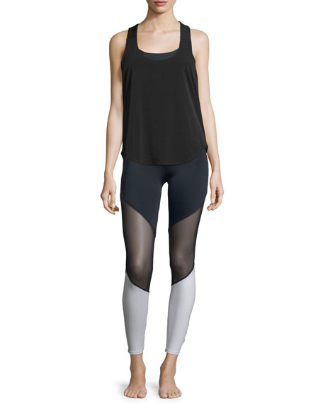 Elastic-Back Sleeveless Sport Tank, Black/White