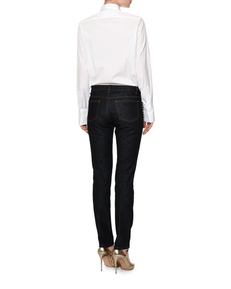 Long-Sleeve Rockstud-Trim Blouse, White