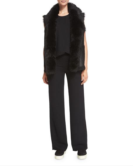 Vince Shearling Fur-Trim Leather Vest