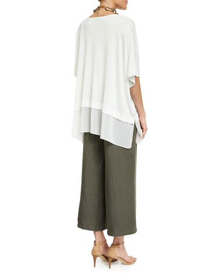 Half-Sleeve Silk Jersey Blouse, Petite