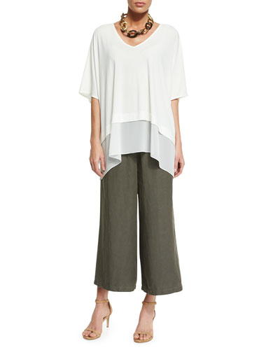 3/4-Sleeve Silk Jersey Easy Top & Elastic-Waist Wide Cropped Pants, Petite