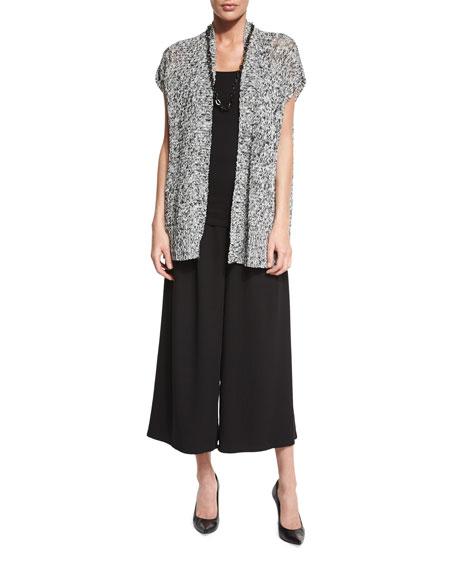Eileen Fisher Short-Sleeve Melange Linen Grain Twist Cardigan,
