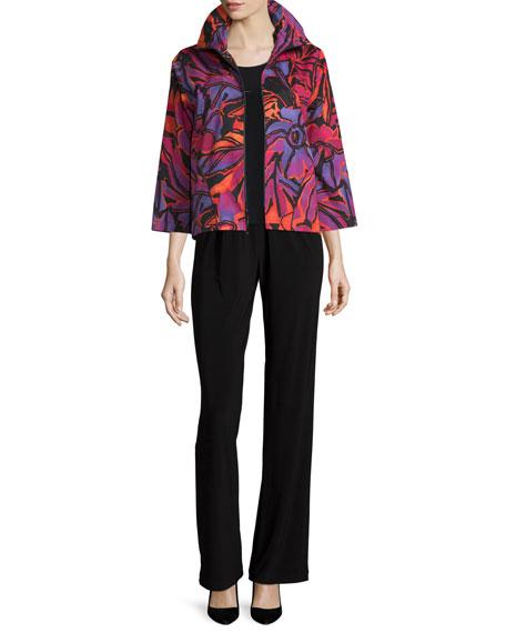 Caroline RoseZip-Front Samba-Print Jacket, Multi/Black, Petite