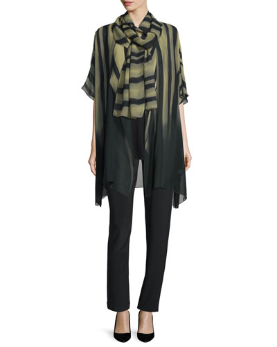 Knit Tunic/Tank, Exotic Elements Scarf & Stretch-Knit Slim Pants, Petite