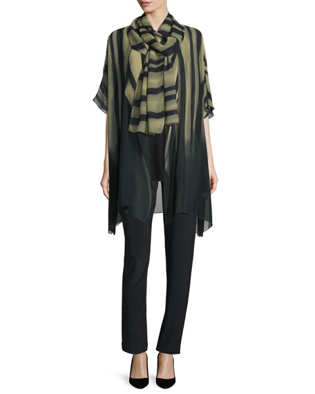 Exotic Elements Open-Front Cardigan, Moss/Black, Petite