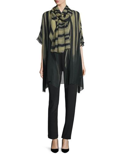 Knit Tunic/Tank, Exotic Elements Scarf & Stretch-Knit Slim Pants, Plus Size