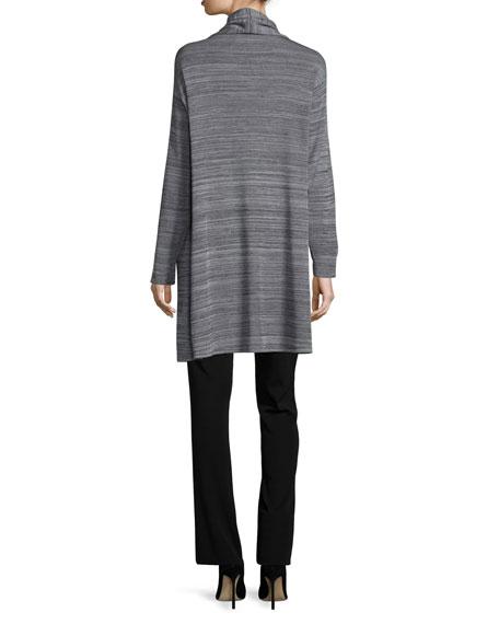 Long-Sleeve Open-Front Jacket, Neutral Gray/Black, Plus Size