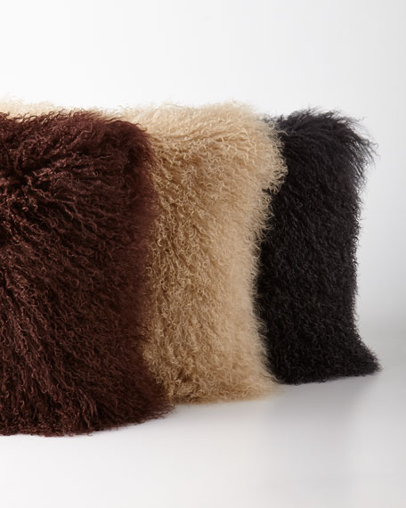 Chocolate Tibetan Lamb Pillow