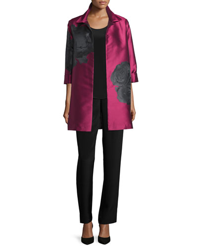 Rio Rose Open-Front Party Jacket, Long Silk Crepe Tank & Silk Crepe Straight-Leg Pants, Petite