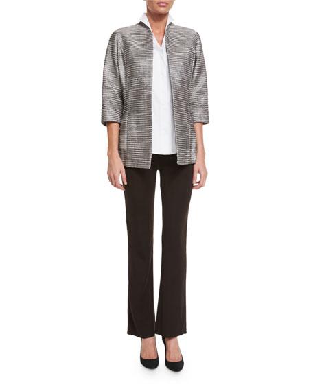 Sleeveless Stretch-Cotton Shirt, Petite