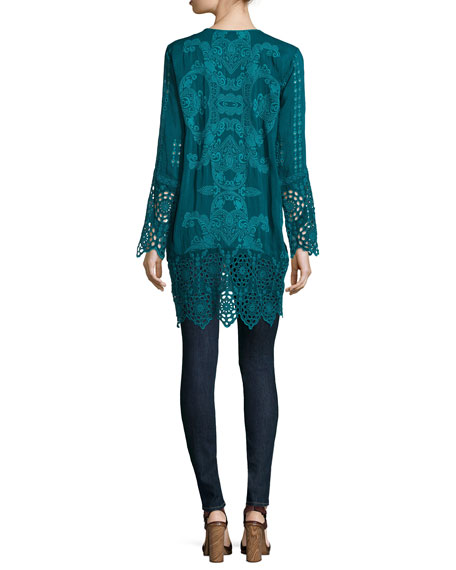 Lona Long Embroidered Tunic