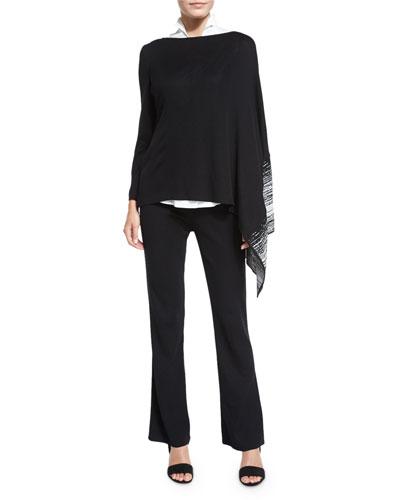 Balancing Act Knit Poncho, Sleeveless Stretch-Cotton Shirt & Boot-Cut Knit Pants