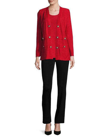 Textured Straight-Cut Knit Jacket