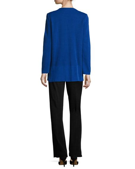 Ribbed Bracelet-Sleeve Jacket, Lyons Blue/Black, Petite
