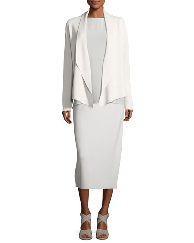 Shawl-Collar Draped Knit Jacket, Sleeveless Silk Long Shell & Washable Silk/Cotton Midi Pencil Skirt