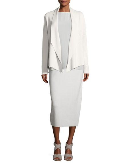 Shawl-Collar Draped Knit Jacket, Plus Size