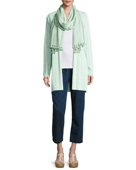 Linen-Cotton Long Cardigan, Aurora, Petite