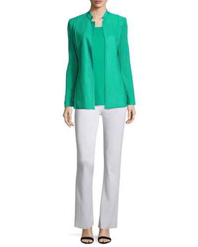 Lace-Sleeve Knit Jacket, Tank & Pants, Petite