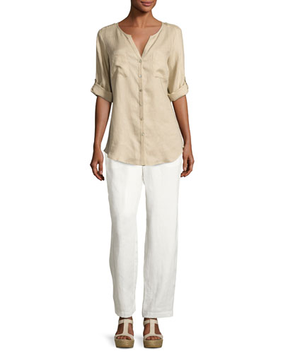 Linen Button-Front Tunic & Pants