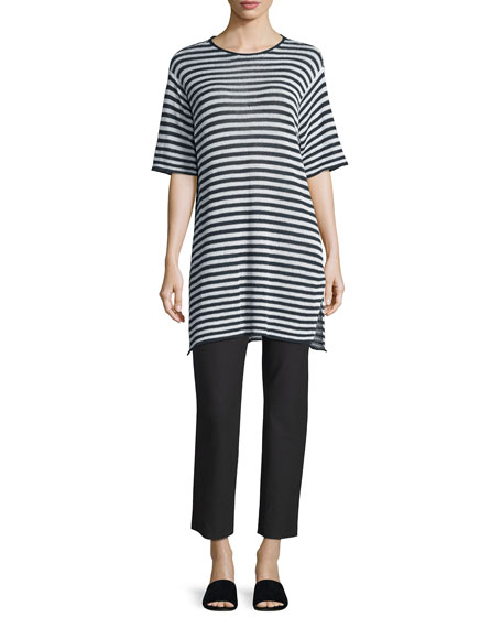 Half-Sleeve Striped Organic-Linen Sweater, Graphite/White