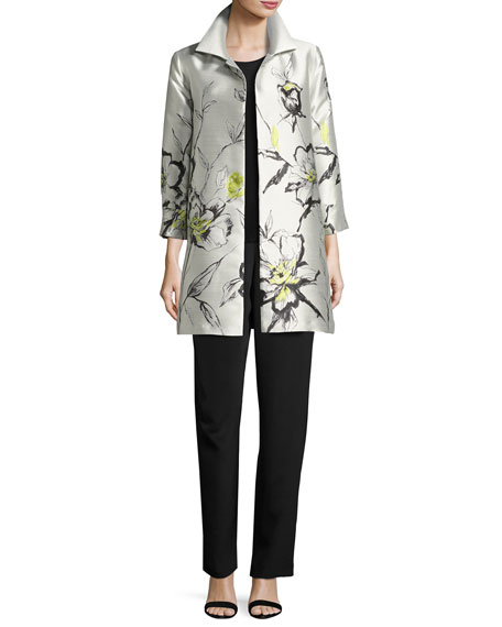 All-in-Bloom Jacquard Party Jacket, Light Yellow, Plus Size