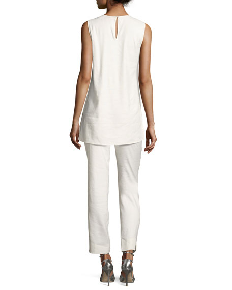 Luxe Cropped Linen Pants, Plus Size