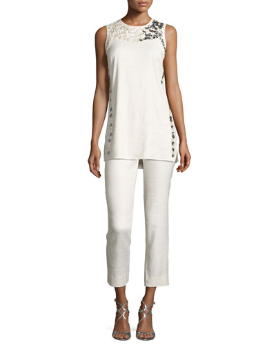Luxe Cropped Linen Pants, Petite  and Matching Items