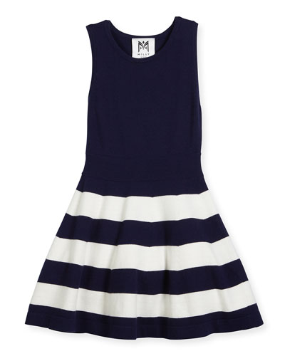 Sleeveless Striped Fit-and-Flare Sweaterdress