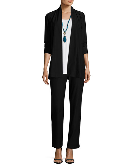 Eileen Fisher Petite Lightweight Washable Stretch-Crepe Topper Cardigan, Black