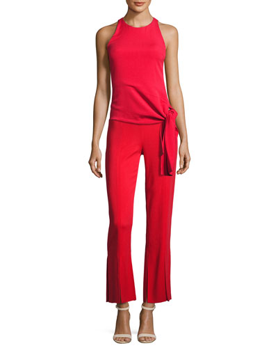 Stretch-Crepe Sleeveless Top with Asymmetric Hem, Red and Matching Items