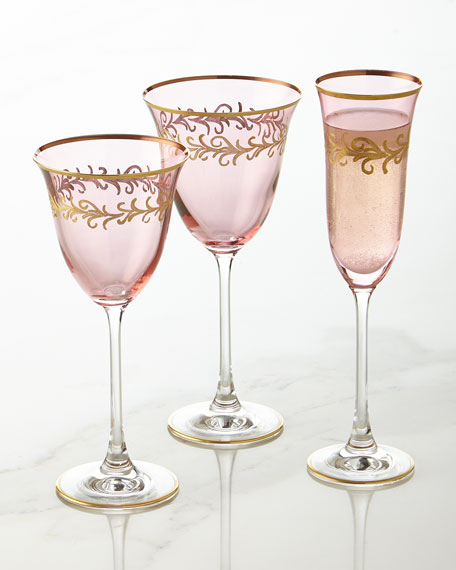 Blush Oro Bello Wine Goblets, Set of 4