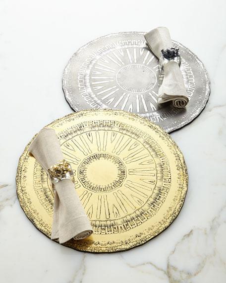 """Kim Seybert Set of 4 Golden """"Geode"""" Napkin Rings"""