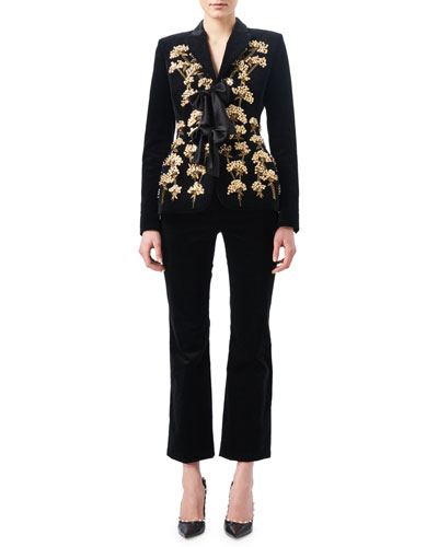 Serge Velvet Flat-Front Classic Pants, Black and Matching Items