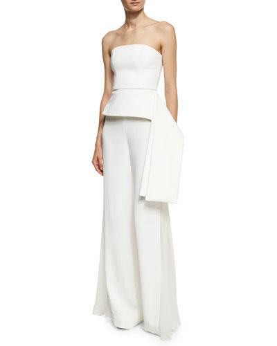 Phillipa Palazzo Pants with Chiffon Inset, White and Matching Items