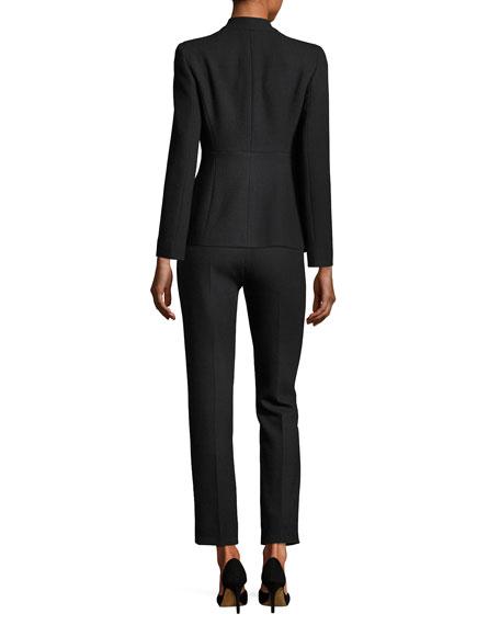 Textured Stretch-Wool Slim Ankle Pants, Black