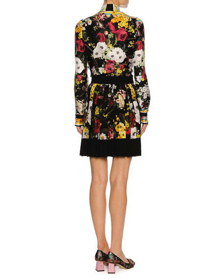 Floral Bouquet Silk Twill Tie-Neck Blouse, Black