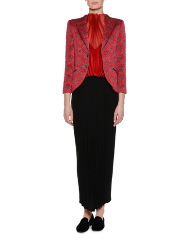 Graphic Jacquard Two-Button Jacket, Red and Matching Items