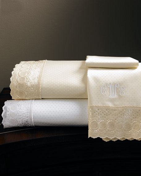 King Marcus Collection 400TC Lace-Trimmed Sheet Set