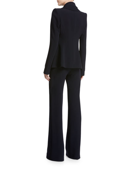 Layered Petal-Lapel Crepe Blazer, Navy