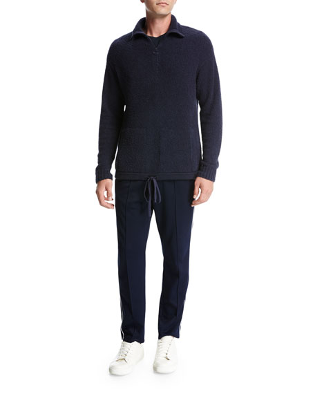 Terry Half-Zip Mock-Neck Pullover, Navy