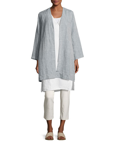 Yarn Dyed Handkerchief Linen Long Jacket, Chambray and Matching Items