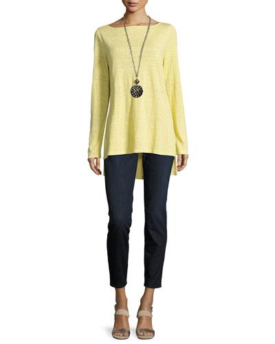 Bateau-Neck Organic Linen Jersey Top, Petite and Matching Items