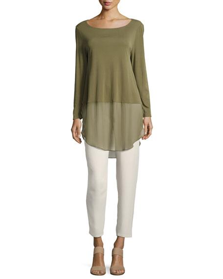 Eileen Fisher Long-Sleeve Silk Jersey Tunic w/ Sheer Layer