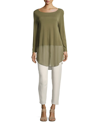 Silk Georgette Crepe Slouchy Ankle Pants and Matching Items