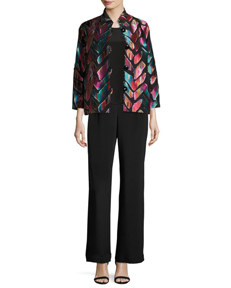 Vivid Dreams Jacquard Bracelet-Sleeve Jacket, Plus Size