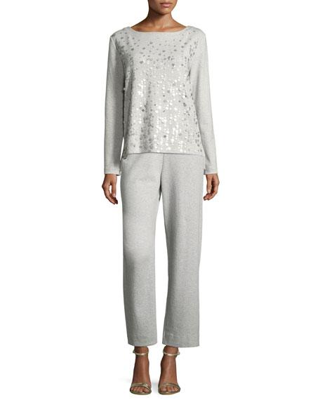 Luxe Cotton Interlock Sequin-Front Top, Plus Size
