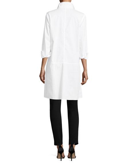 Long-Sleeve Stretch-Cotton Lawn Shirtdress